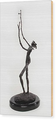 Votary Of The Rain A Sculpture By Adam Long Wood Print by Adam Long
