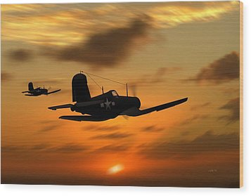 Wood Print featuring the digital art Vought Corsairs At Sunset by John Wills