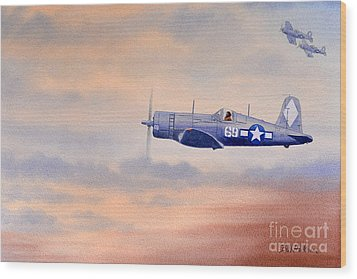 Wood Print featuring the painting Vought F4u-1d Corsair Aircraft by Bill Holkham
