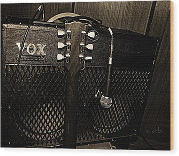 Vox Amp Wood Print by Chris Berry