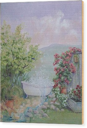 Voyeur At The Secret Garden Health And Beauty Spa Wood Print