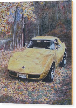 Wood Print featuring the mixed media Vrooom by Constance Drescher
