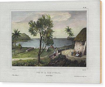 Wood Print featuring the drawing Vue De La Baie Dumata Umatic Bay by dUrville duSainson