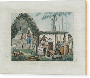 Vue Dune Distillerie Sur L Ile Guam Distillery Scene On Guam Wood Print by d Apres A Pellion