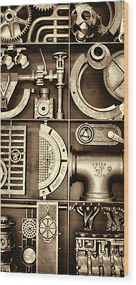 Vulcan Steel Steampunk Ironworks Wood Print by Kathy Clark