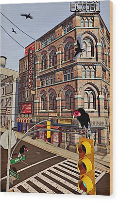 Vultures On Main Street Wood Print by Peter J Sucy