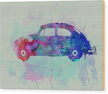 Vw Beetle Watercolor 1 Wood Print by Naxart Studio