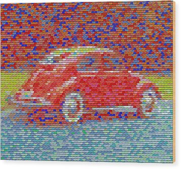 Wood Print featuring the digital art Vw Bug Pez Mosaic by Paul Van Scott