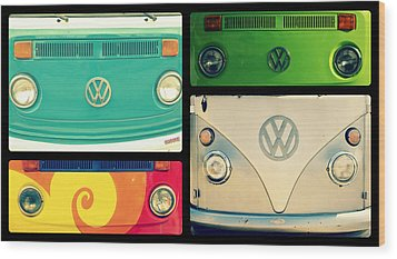 Vw Collage Wood Print