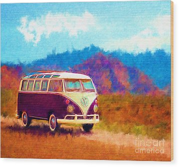 Vw Van Classic Wood Print by Marilyn Sholin