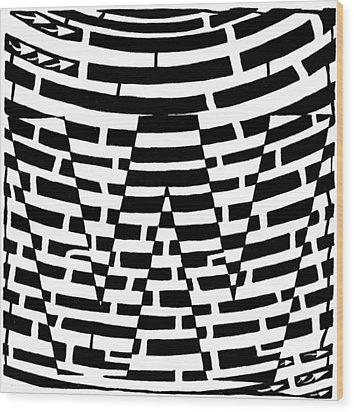 W Maze Wood Print by Yonatan Frimer Maze Artist