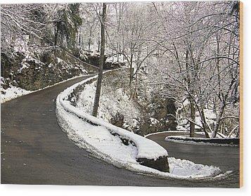 W Road In Winter Wood Print
