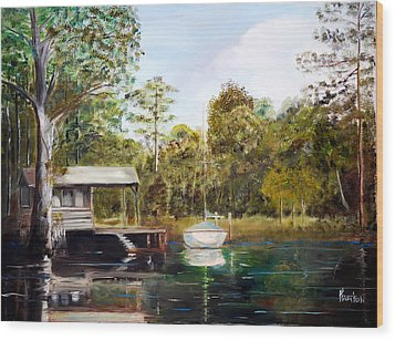 Waccamaw River Sloop Wood Print by Phil Burton