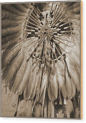 Wood Print featuring the photograph Wacipi Dancer In Sepia by Heidi Hermes