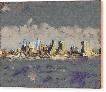 Wood Print featuring the mixed media Wacky Philly Skyline by Trish Tritz