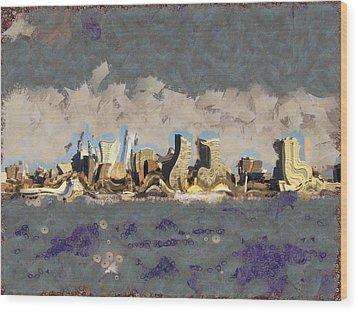Wacky Philly Skyline Wood Print by Trish Tritz