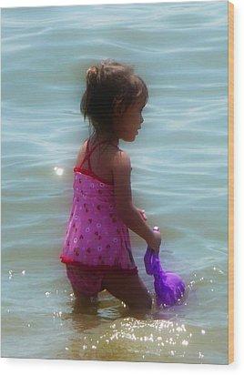 Wading Child Wood Print by Lori Seaman