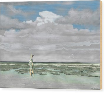 Wood Print featuring the digital art Wading The Salt Flats by Kerry Beverly