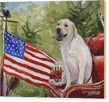 Wag The Flag Wood Print by Molly Poole