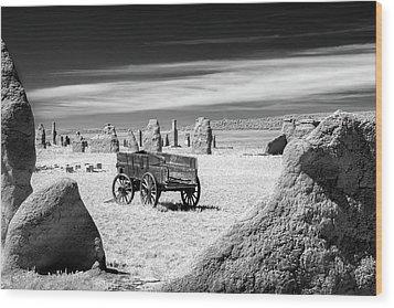 Wagon At Fort Union Wood Print