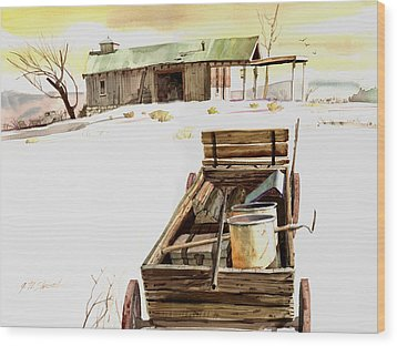 Wagon At White Sands Wood Print by John Norman Stewart