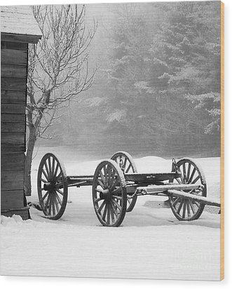 Wagon In Winter Wood Print