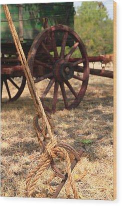 Wagon Stake Wood Print by Toni Hopper