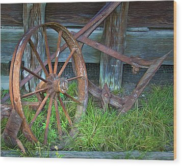 Wood Print featuring the photograph Wagon Wheel And Fence by David and Carol Kelly
