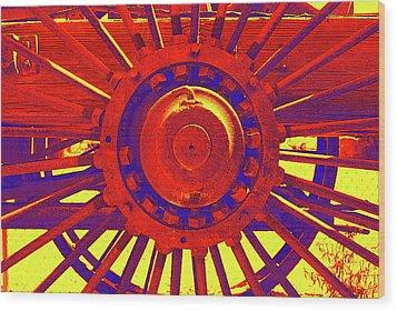 Wagon Wheel Wood Print by Cynthia Powell