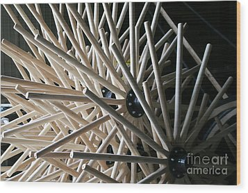Wagon Wheels Wood Print by Angela Montgomery