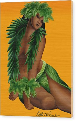 Wahine Wood Print by Keith Tucker