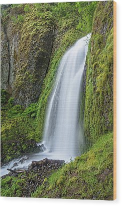 Wood Print featuring the photograph Wahkeena Falls by Greg Nyquist