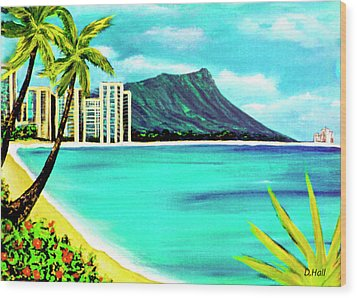 Waikiki Beach And Diamond Head #150 Wood Print by Donald k Hall