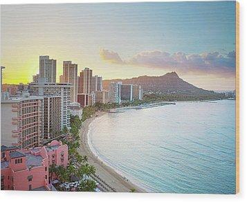 Waikiki Beach At Sunrise Wood Print by Monica and Michael Sweet