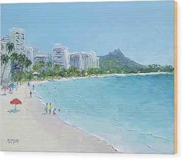 Waikiki Beach Honolulu Hawaii Wood Print by Jan Matson