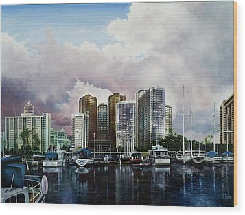 Wood Print featuring the painting Waikiki Beach Marina by Michael Frank