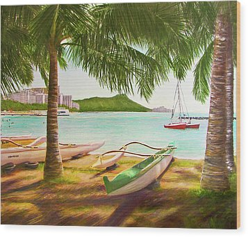 Waikiki Beach Outrigger Canoes 344 Wood Print by Donald k Hall