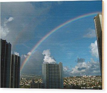 Wood Print featuring the photograph Waikiki Rainbow by Anthony Baatz