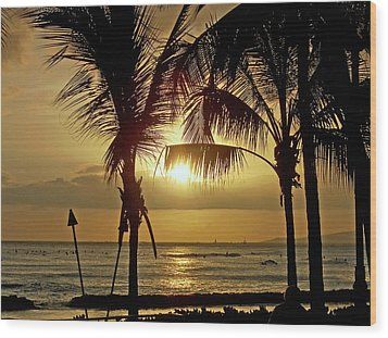 Wood Print featuring the photograph Waikiki Sunset by Anthony Baatz