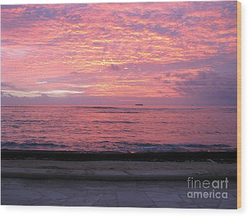 Waikiki Sunset Wood Print