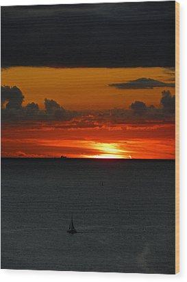 Waikiki Sunset Iv Wood Print