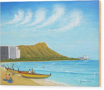 Waikiki Wonder Wood Print by Jerome Stumphauzer