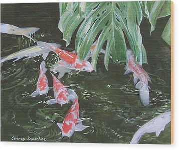 Wood Print featuring the mixed media Waikoloa Koi Pond by Constance Drescher