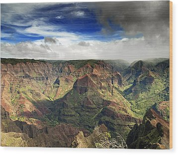 Waimea Canyon Hawaii Kauai Wood Print by Brendan Reals