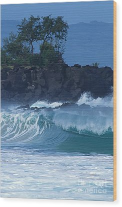 Wood Print featuring the photograph Waimea Shorebreak by Stan and Anne Foster