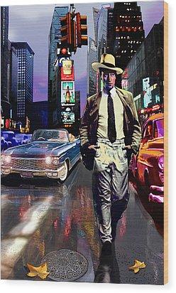 Waine Walking In Times Square Wood Print by Jose Roldan Rendon