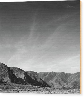 Wainui Hills Squared In Black And White Wood Print by Joseph Westrupp