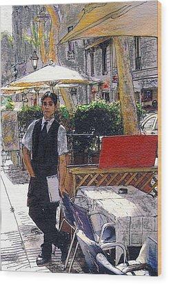 Waiter On La Rambla Wood Print