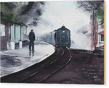 Wood Print featuring the painting Waiting by Anil Nene