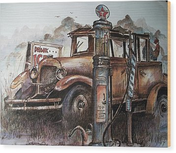 Waiting At The Pump Wood Print by Dick  Stanton